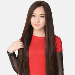 Perruques naturelles au cuir chevelu en Ligne-150% Densité Droite Côté Partie Malaisienne Cheveux Raides Full Lace Wig Simulation De La Soie Du Cuir chevelu Avec Frange Naturel Cheveux de Bébé Blanchi