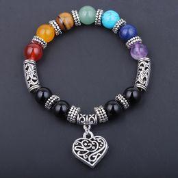 Wholesale Rainbow Vintage Charm - 7 Chakra Rainbow Bracelets Heart Pendant Boho Female Vintage Jewelry Crystal Onyx Reiki Healing Yoga Mala Bracelet Accessory Free DHL D90S
