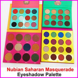 Wholesale Green Eyeshadow Palette - In stock Eyeshadow Palette Masquerade 16 colors Eye shadow Palette 12 color Eyeshadow Yellow Purple Green Red makeup Nubian Saharan palette