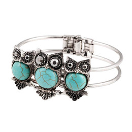 Wholesale Vintage Turquoise Cuff Bracelet - 2016 Hot Sale Vintage Silver Turquoise Cuff Bracelet Punk Style Women Owl Bracelets & Bangles Retro Jewelry