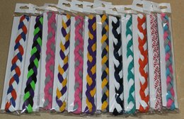 Wholesale Headbands Sports Solid Color - wholesale DHL shipping new 2015 Free Shipping Mix Colors 3-rope triple Braided mini Stretch Softball Sports Headbands