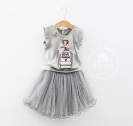 Wholesale Children Perfume Wholesale - Girls sets 2015 Summer Kids Sets Children Bow Perfume bottles Short Sleeve T-shirts Tops +gauze Short Skirt children clothing