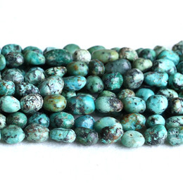 """Wholesale Africa Flowers - Natural Genuine Green Blue Africa Turquois Nugget Free Form Fillet Irregular Pebble Beads Fit Jewelry 15.5"""" 05251"""
