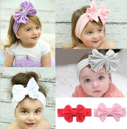 Wholesale Color Sticks For Hair - New Big Bow Infant Hair Band 20 Pieces Good Quality Headbands For Girl Multi-Colors Children's Hair Accessories