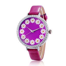 Wholesale Leather Flowers For Sale - Hot Sale New Leather Luxury Watches Rhinestone Daisy Flower Watches For Women Gift Free Shopping