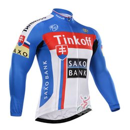 Wholesale Mens Cycling Jacket Xl - 2017 New team Tinkoff cycling jerseys long sleeve jacket ropa ciclismo Breathable quick dry mens cycling clothing mtb bike sportswear C0116