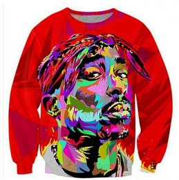 Wholesale Women Plus Size Sweats - Harajuku style men women's pullover hoodie 3d printed painting tupac sweatshirt long sleeve casual sweat shirt plus size free shipping