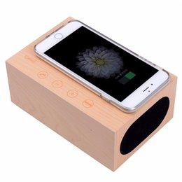 Wholesale Qi Alarm - QI Wireless Charging Wood X5 Clock Bluetooth Speaker with NFC Dual USB Charger Alarm Clock Temperature Handsfree Phone