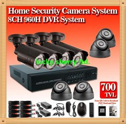 Wholesale 8ch D1 Video - CIA- New 8ch CCTV System cmos 700TVL Waterproof IR Cameras Security Video System Network P2P Cloud HDMI 960H D1 DVR Recorder CCTV Systems