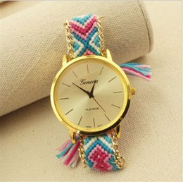 Wholesale Multi Rope Bracelets - 2017 Christmas Geneva DIY handmade braided watch National hand rope women watches ladies weave bracelets wrist watch best selling