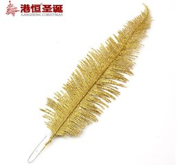 Wholesale Leaf Ornaments Wholesale - Christmas Tree Decoration Branch Holly Leaf 37cm PVC Glitter Sticks Christmas Ornament Cane Party Supplies 50Pcs Free Shipping