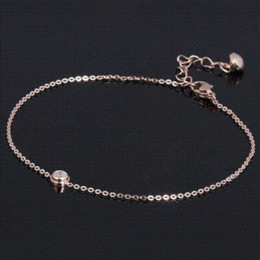 Wholesale Gold Titanium Anklet - 2016 New AAA Cubic Zirconia Anklet Rose Gold Titanium Steel Anklet Bracelet Foot Jewelry Fashion Leg Chain for Women Girls