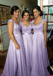 Wholesale Hot Pink Water Beads Wedding - Hot Selling Purple Lilac Lavender Bridesmaid Dresses Lace Chiffon Maid of Honor Beach Wedding Party Dresses Plus SIZE Evening Dresses