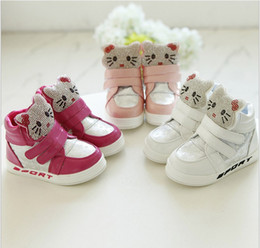 Wholesale Arrival Children Shoes - 2016 New Arrival Kids Casual Shoes Baby Boys Girls Sneakers Children Cartoon KT Cat Athletic Shoes Fashion Girl Boots