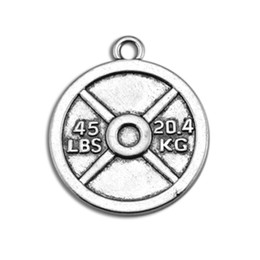 Wholesale Weight Plate Jewelry - New Hot Zinc Alloy Sports 45LBS 20.4KG Weight Plate Disc Charm Jewelry Findings