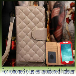 Wholesale Plastic Cases For Business Cards - New Luxury Business embroidered Style Check Grid Pattern PU Leather Wallet Hand Strap case for iphone6 i6 4.7 5S iphone 6 plus