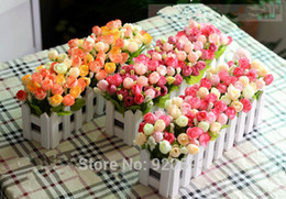 Wholesale Artificial Flowers Wooden - Festive Party Supplies Decorative Wreaths 1 set Wooden fence vase + rose and Daisy artificial flower set silk flowers home