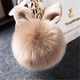 Argentina AOJUN Fake Fur Pom Pom Llavero Fluffy Bunny Rabbit Llavero de piel de conejo para las mujeres Bolsa Encanto Orejas de conejo Llavero Llavero llavero de coche Suministro