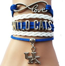 Wholesale Cheap Hot Plates - 2016 hot sale Drop Shipping cheap price Infinity Love NCAA Kentucky Wildcats Team Bracele- Custom Sports Cheer Bracelet