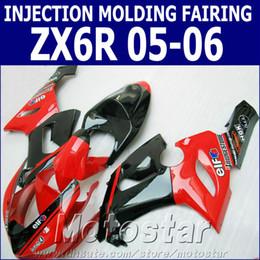 moto ninja Rebajas 100% kit de carenado de moldeo por inyección para Kawasaki ZX6R 2005 2006 ZX636 carenado de motocicleta negro rojo brillante set Ninja ZX-6R 05 06 GH54