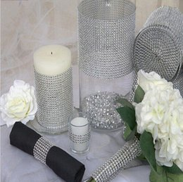 Wholesale Gift Wrap Rolls - New Wedding Gift DIY Craft Accessories 24 Rows Diamond Mesh Wrap Sparkle Rhinestones Crystal Ribbon 10 Yards Roll For Party Decoration