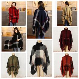 Wholesale Pashmina Tassel - Plaid Poncho Scarf Tassel Fashion Wraps Women Scarves Tartan Winter Cape Grid Shawl Cardigan Blankets Cloak Coat Sweater shawl wraps KKA3273