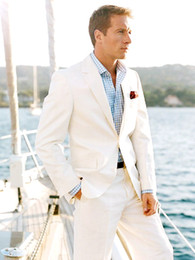 Wholesale Bespoke Suits Men - 2015 White Linen Blazer Custom Made Linen Suit ,Sharp Look Tailored Groom Suit Bespoke Mens Linen Suits For Wedding Tuxedos For Men N7