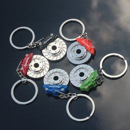 Wholesale Metal Brake Discs - New Automobile Brake Spin Disc Brake Calipers Shape Pad Key Chain Keychain Key Ring Car Auto Fashion Accessories hot sale 170886