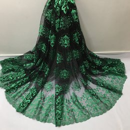 Wholesale Indian Fabric Wedding Dress - Embroidered Nigeria Lace Fabric High Quality African Tulle Lace Fabric UK for Wedding Dress Indian Lace Fabric Free Shipping D79GB01