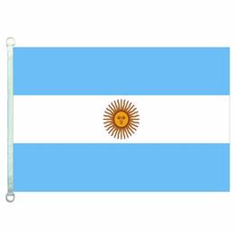 Argentina bandiere online-Buona bandiera bandiere di Argentina Banner 3X5FT-90x150cm 100% poliestere bandiere di paesi, 110gsm ordito tessuto a maglia bandiera esterna