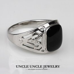 Wholesale Retro Gold Rings - For Man!!! White Gold Plated Black Onyx Enamel Craft Classic Rectangle Retro Finger Ring Wholesale 18KRGP