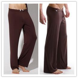 Wholesale Yoga Pants Men Loose - mens yoga pants sleep bottoms satin Male trousers casual pyjamas clothes bath Running Sport Pants Gym Clothes pantalon yoga men
