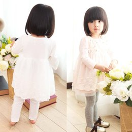 Wholesale Korean Girls Mini Dress - Kid Long Sleeve Dresses Baby Dress Children Clothes Kids Clothing 2015 Autumn Lace Dresses Korean Girl Dress Flower Princess Dresses C10124