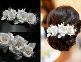 Wholesale Headdress Hair - 2016 New Arrival Handmade Lace Flowers Married the Bride Headdress Pearl Wedding Accessories Hair Jewelry Wholesale For Women
