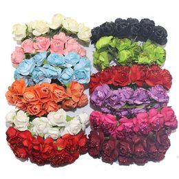 Wholesale Wholesale Glitter Flowers - Sale!!! 1-1.5cm head Multicolor Mulberry Glitter Paper Flower Bouquet wire stem Scrapbooking artificial rose flowers(144pcs lot)