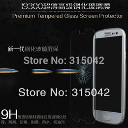 Wholesale Samsug Galaxy - Wholesale-For samsug galaxy s3 i9300 ultra thin Premium Tempered Glass Screen Protector Protective Film,retail packing