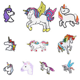 Wholesale Kids Bags Sale - 10PCS Hot Sale Unicorn Patches for Clothing Iron on Transfer Applique Kids Patches for Jeans Bags DIY Sew on Embroidery Stickers