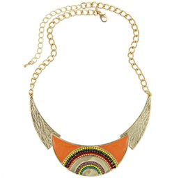 Wholesale Moon Shaped Beads - Wholesale-Collares 2015 New Fashion Women Ethnic Enamel Beads Moon Shaped Choker Statement Pendant Necklace Gold Filled Jewelry