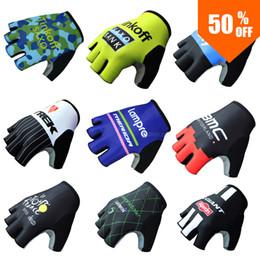 Wholesale Men Half Gloves - Wholesale-60% OFF Pro Team Bank Men Half Finger Cycling Sport MTB Ride Motocross Bike Bicycle Gloves Guantes Ciclismo Bicicletas Mittens