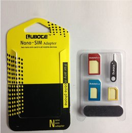 Wholesale Nano Adaptor - 5 in 1 metal Nano SIM Card Micro SIM Card Standard sim Converter Adapter Adaptor for iPhone 4 all cellpone with Eject Pin