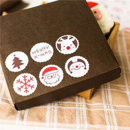 Wholesale Seal Christmas Sticker - Free shipping Christmas reindeer snowflake christmas tree decoration sealing paster gift packing sticker stickers party favors