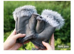 Wholesale White Leather Mittens - DHL free shipping women soft suede mittens lady's winter keyboard gloves real rabbit fur lady gloves finger less 12 color choice