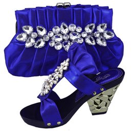 Wholesale Open Toe Rivet Wedge - Noble design Italian high heel shoes series 1308-L6 blue lady shoes and bag sets for party