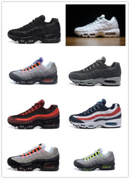Wholesale Mens Running Shoes Best - Drop Shipping Hight Quality Mens Air Sports 95 Running Shoes Black Men best Athletic walking Tennis Shoes Grey Man Training 36-46 Sneakers