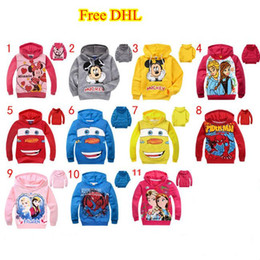 Wholesale Hoodies Cars - 2015 Baby Girls Boys Mouse Minnie Hoodie Tops Long Sleeve Cartoon Sweatshirt Cars Outwear Children Clothing 11 Styles 6Pcs Lot Free DHL