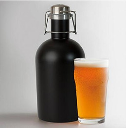 Wholesale Cold Bottles - 3 Colors 64oz Stainless Steel Beer Growler Swing Whiskey Cold Beer Bottle With Lid Hip Flask Wine Pot CCA8018 30pcs