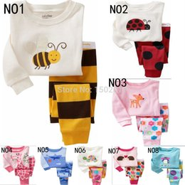 Wholesale Pyjamas Baby - Winter Babys Sleepwear Cotton Boys Pyjamas Girls Clothing animals giraffes Bees Baby Sets Underwear kids pajama sets
