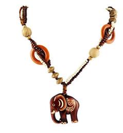 Wholesale Long Elephant Necklace - Boho Ethnic Jewelry Long Hand Made Bead Wood Elephant Pendant Maxi Necklace For Women
