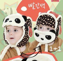 Wholesale Ear Warmer Skiing - Kids Boy Girl Winter Warm Panda Caps Cashmere Ear Fla Hats Ski Beanie Hats Baby Accessories 6-48M MZ2251