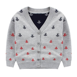 Wholesale Boat Neck Cardigan - Cardigan Brand Sweaters Boys Boat Sailing Sweater Autumn Clothes For Baby Boys Grey Blue